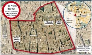 La zona rossa nel centro di Roma