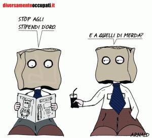 La vignetta di Arnald sugli stipendi precari - da Diversamenteoccupati.it