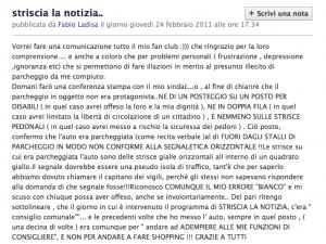 Lo screenshot della comunicazione su Facebook di Fabio Ladisa