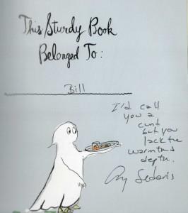 La dedica della scrittrice Amy Sedaris al blogger Bill Ryan