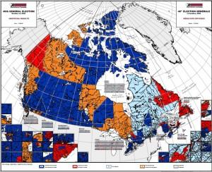 Mappa dei seggi nelle province canadesi
