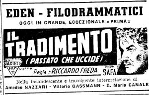 """La locandina del film """"Il tradimento"""" di Riccardo Freda"""