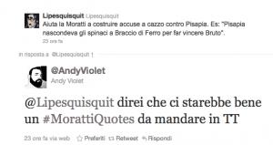 Il tweet su Twitter che ha dato vita all'hashtag #morattiquotes