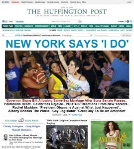 """L'home page dell'Huffington Post con il titolo """"New York dice 'Lo voglio'"""" in occasione della legge sul matrimonio tra omosessuali"""