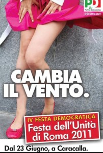 """Il manifesto del Pd con lo slogan """"Cambia il vento"""""""
