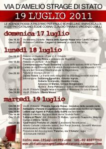 Il manifesto per il ricordo della strage di via d'Amelio del 19 luglio 2011