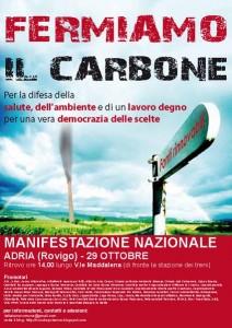 """La locandina della manifestazione """"Fermiamo il carbone"""" (Adria, 29 ottobre 2011)"""