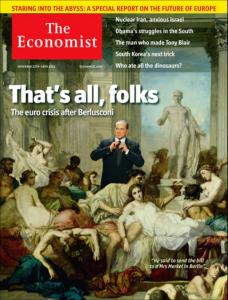 """La copertina dell'Economist del 12 novembre 20110 con il saluto """"That's all folks"""" a Berlusconi"""