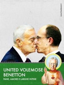 Gianni ed Enrico Letta nella parodia della campagna Unhate di Benetton
