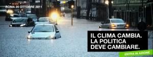 """Una delle """"cartoline dal caos climatico"""" di Greenpeace per il ministro dell'Ambiente Clini"""