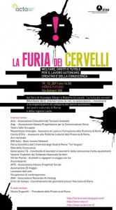 """Locandina della presentazione del libro """"La furia dei cervelli"""" di Roberto Ciccarelli e Giuseppe Allegri"""