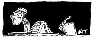 Vignetta di Natangelo sulla Concordia e il comandante Francesco Schettino