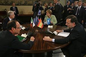 vertice Monti Merkel Rajoy Holland (foto LaPresse)
