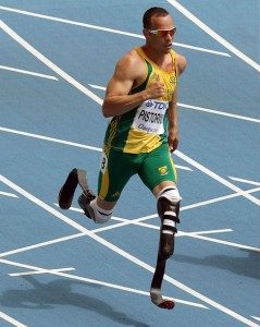 Oscar Pistorius, the first double amputee runner at the Olympic Games, London 2012