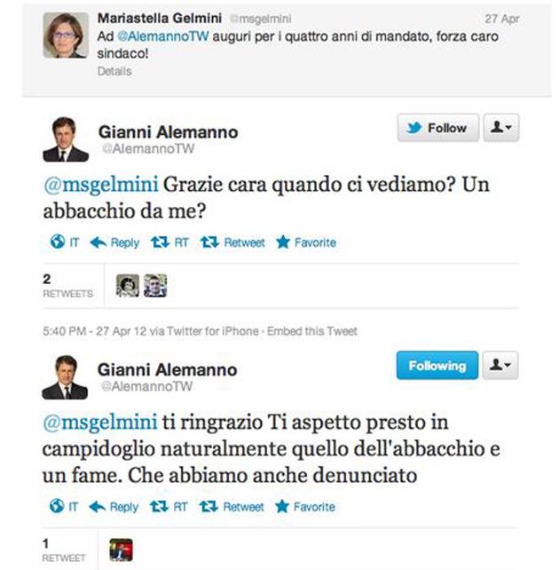 La Gelmini, Alemanno e la sua denuncia contro il troll 'fame'