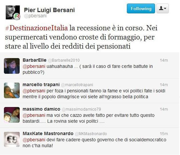 Il tweet di Bersani