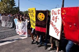 Studenti in piazza contro la crisi a Roma