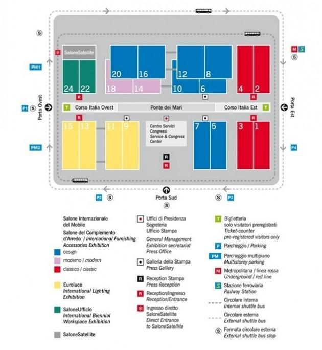 Mappa del Salone del mobile 2013