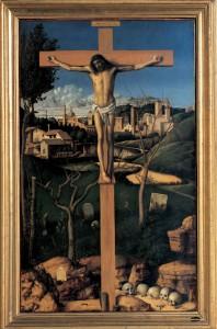 Giovanni Bellini, Cristo con cimitero ebraico,olio su tavola di pioppo, 1501-03 ca Prato, Collezione Banca Popolare di Vicenza - Galleria di Palazzo degli Alberti