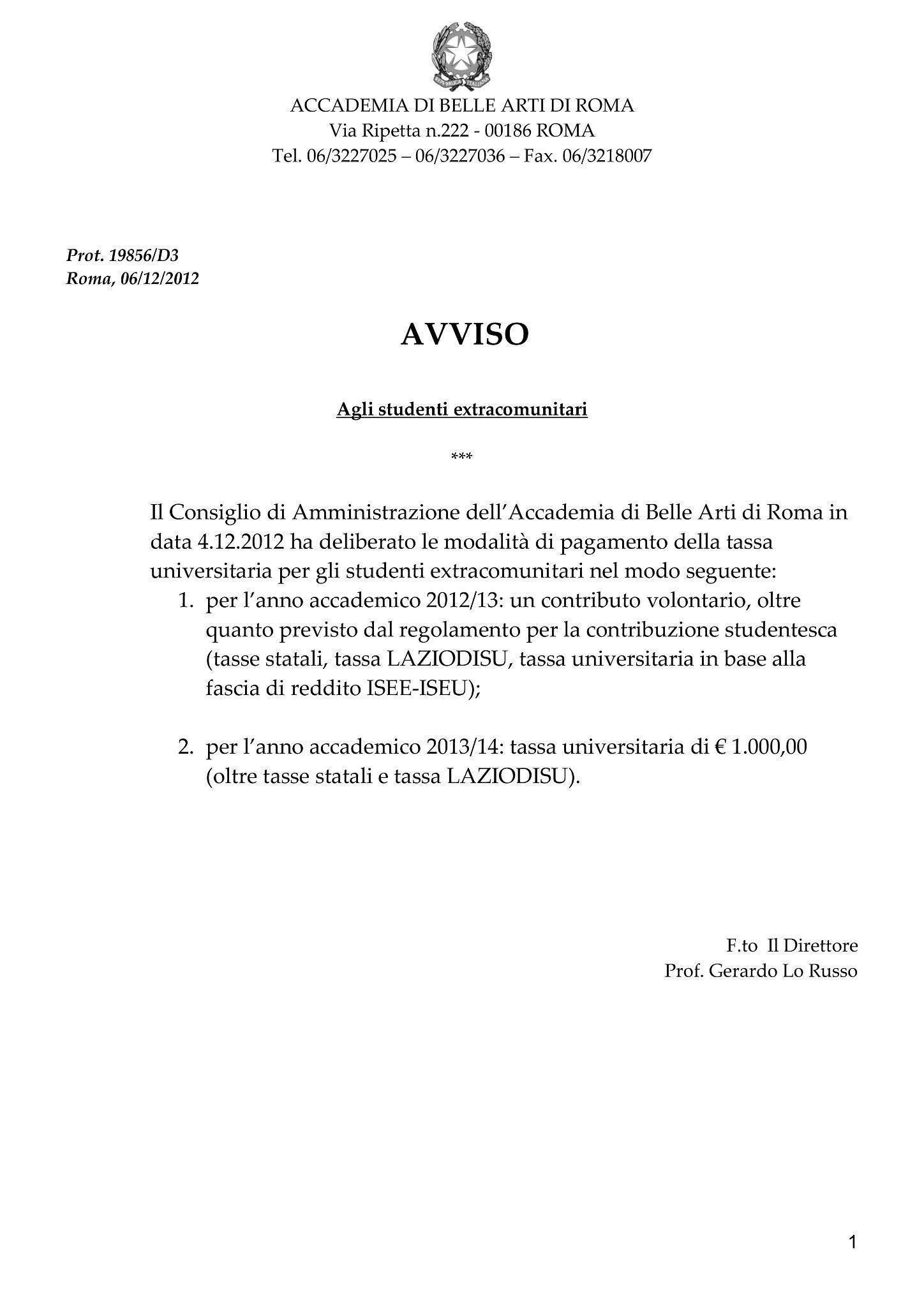 Roma, all\'Accademia delle Belle Arti gli extracomunitari pagano ...