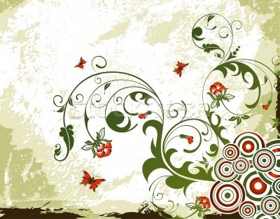 Fiore-sfondo-vernice-farfalla-design-vettore