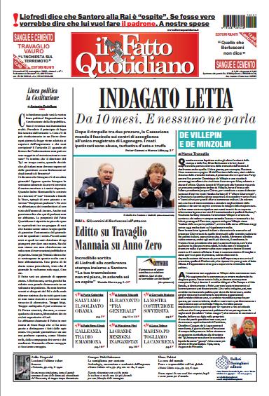 Primo numero il Fatto Quotidiano, 23 settembre 2009