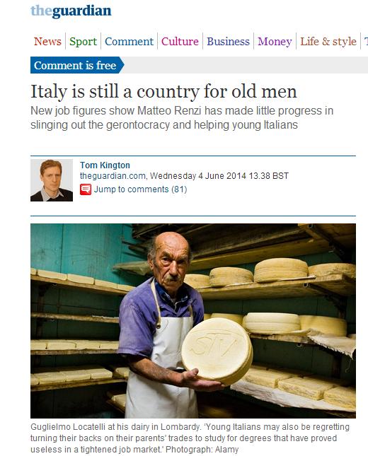 The Guardian 'L'Italia è un Paese per vecchi'