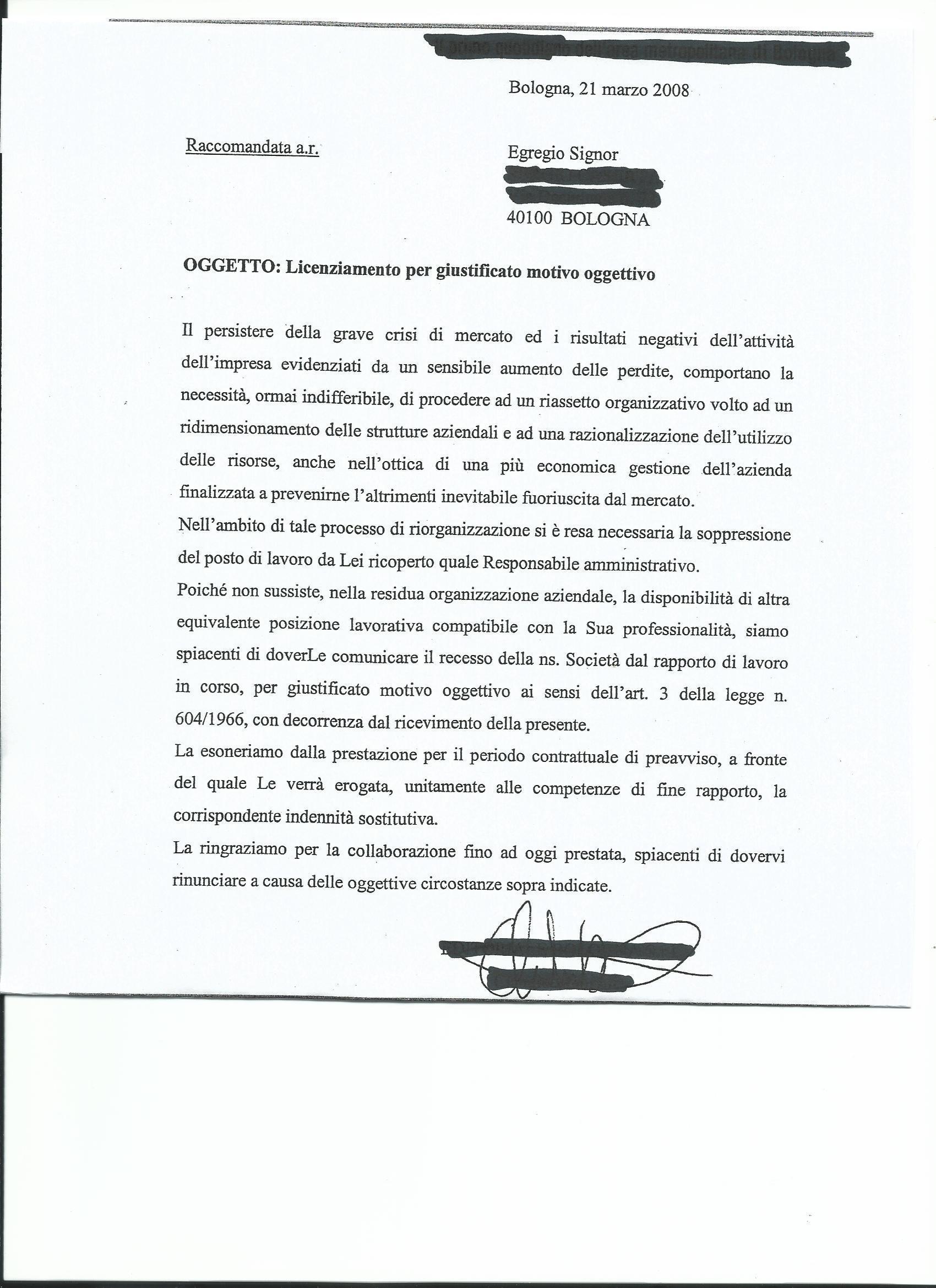 articolo 18: storia di una lettera di licenziamento - il fatto